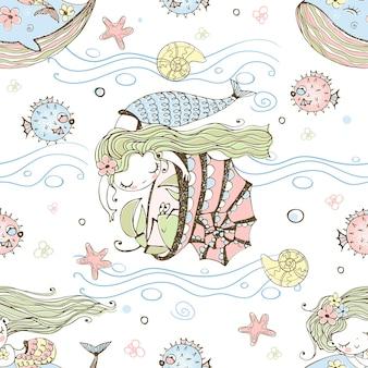 Padrão sem emenda com bonitos pequenas sereias e animais marinhos. vetor.
