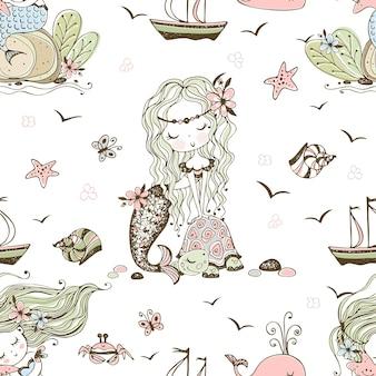 Padrão sem emenda com bonitos pequenas sereias. vetor