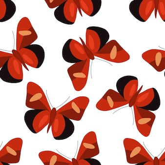 Padrão sem emenda com borboletas coloridas. ilustração em vetor em um estilo simples.