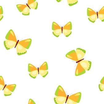 Padrão sem emenda com borboletas coloridas ilustração vetorial