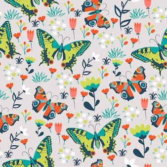 Padrão sem emenda com borboletas e flores.