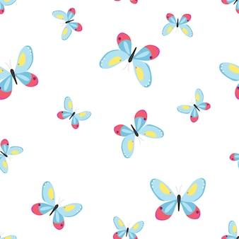 Padrão sem emenda com borboletas ilustração vetorial em estilo simples