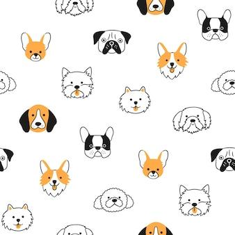Padrão sem emenda com cabeças de cães de raças diferentes