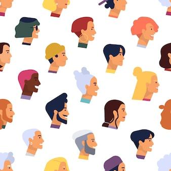 Padrão sem emenda com cabeças de homens e mulheres elegantes, jovens e idosos, com vários estilos de cabelo.