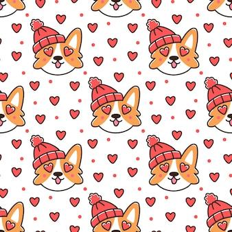 Padrão sem emenda com cachorro corgi em chapéu de malha vermelho com coração para feliz dia dos namorados