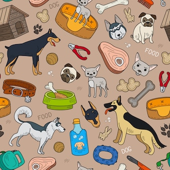Padrão sem emenda com cachorro fofo e acessórios para animais de estimação