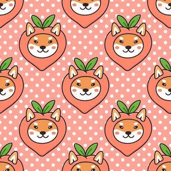 Padrão sem emenda com cachorro kawaii da raça japonesa shiba inu fantasiado de fruta pêssego