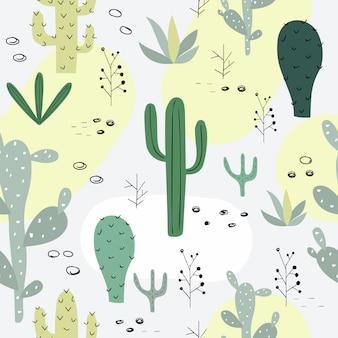 Padrão sem emenda com cactus.