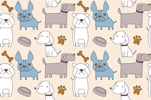 Padrão sem emenda com cães desenhados à mão