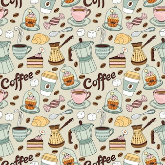 Padrão sem emenda com café e doce. fundo de café
