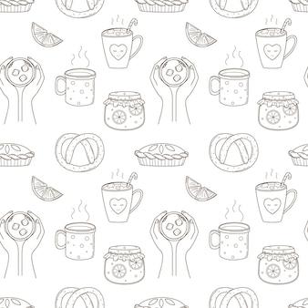 Padrão sem emenda com café, geléia, bolo, pretzel. vetor preto e branco com contorno de elementos de doodle