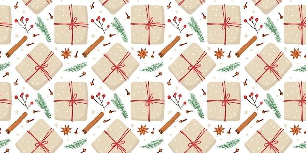 Padrão sem emenda com caixa de presente de natal em papel artesanal e decoração da natureza abeto galho canela