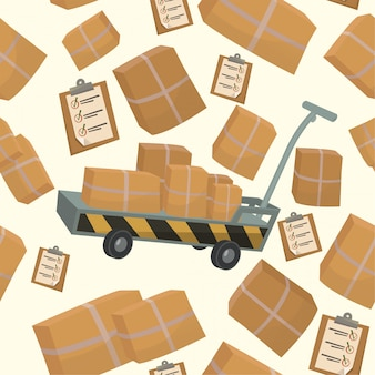Padrão sem emenda com caixas e recipientes para entrega