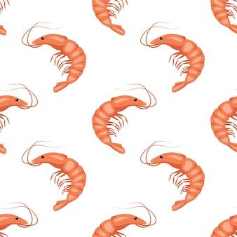 Padrão sem emenda com camarões ou camarões em branco