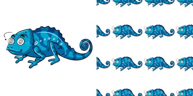 Padrão sem emenda com cameleon azul