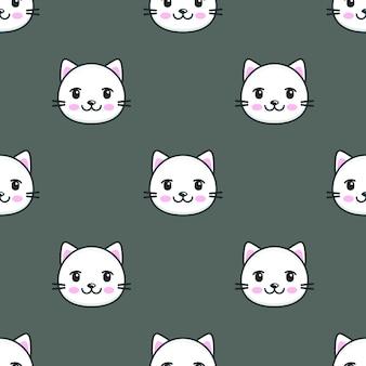 Padrão sem emenda com cara de gato branco de desenho animado