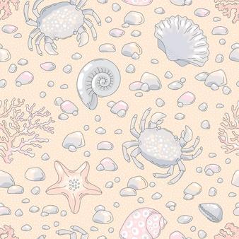 Padrão sem emenda com caranguejo, concha, estrela do mar, avestruz, conchas.