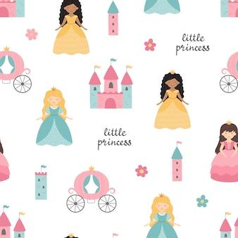 Padrão sem emenda com carruagem de castelo de princesas fofas