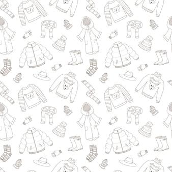 Padrão sem emenda com casacos quentes de outono. vetor preto e branco com elementos de esboço linear