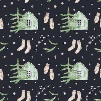 Padrão sem emenda com casas, árvores de natal, meias, luvas e estrelas