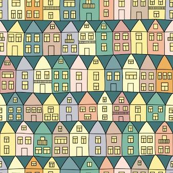 Padrão sem emenda com casas e árvores. ilustração vetorial
