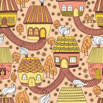 Padrão sem emenda com casas e árvores. ilustração