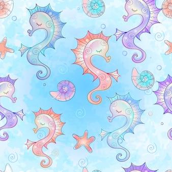 Padrão sem emenda com cavalos-marinhos. mundo subaquático. aquarela.