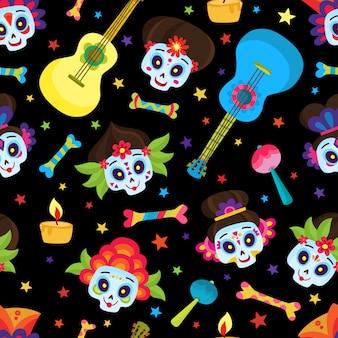 Padrão sem emenda com caveiras coloridas e estrelas para o dia dos mortos ou halloween, caveiras de açúcar para o dia mexicano dos mortos isolado no preto em estilo cartoon.