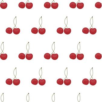Padrão sem emenda com cerejas. cereja em um fundo branco