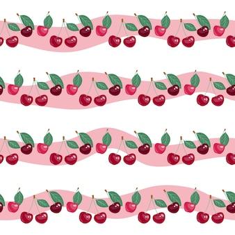Padrão sem emenda com cerejas de beleza