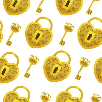 Padrão sem emenda com chave. fundo de corações e chaves de bloqueio de ouro.