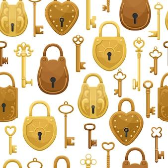 Padrão sem emenda com chaves retrô e fechaduras.