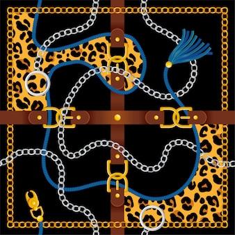 Padrão sem emenda com cinto prata corrente de ouro trança e pele de leopardo