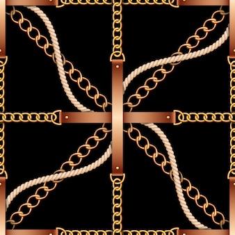 Padrão sem emenda com cintos, correntes e corda em fundo preto