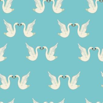 Padrão sem emenda com cisnes brancos. cisnes brancos sobre fundo preto. ilustração.