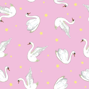 Padrão sem emenda com cisnes brancos