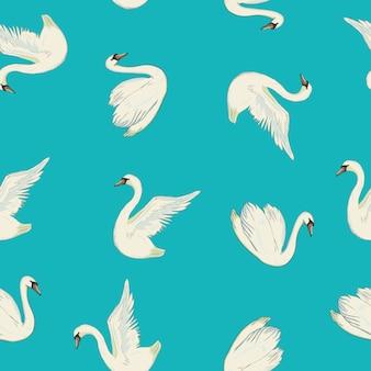 Padrão sem emenda com cisnes brancos.