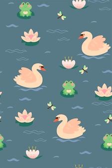 Padrão sem emenda com cisnes e sapos no lago.