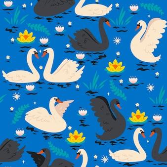 Padrão sem emenda com cisnes na lagoa.