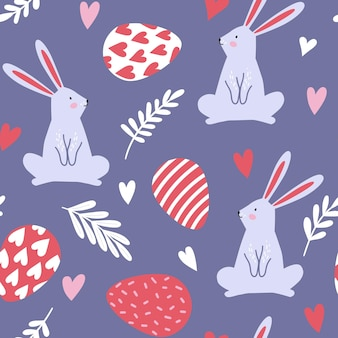 Padrão sem emenda com coelhos, coelhos, ovos, corações e plantas para a páscoa. desenho vetorial perfeito para tecidos, têxteis, papel de embrulho, papel de parede e impressão.