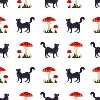 Padrão sem emenda com cogumelo amanita com chapéu vermelho e grama de pontos brancos e gato preto brilhante mosca ag ...