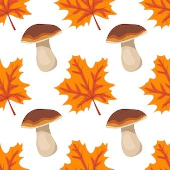 Padrão sem emenda com cogumelos e folhas de bordo laranja impressão de outono brilhante com dons da natureza e ...