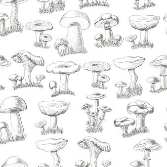 Padrão sem emenda com cogumelos