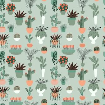 Padrão sem emenda com coleção de plantas de casa interior mão desenhada. coleção de vasos de plantas.