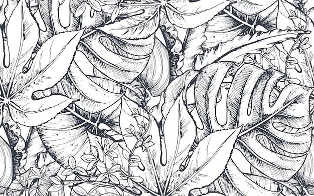 Padrão sem emenda com composições de flores tropicais de mão desenhada, folhas de palmeira, plantas da selva, buquê do paraíso. padrão floral esboçado em preto e branco