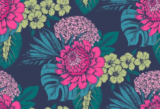 Padrão sem emenda com composições de flores tropicais desenhadas à mão, folhas de palmeira, plantas da selva Vetor Premium
