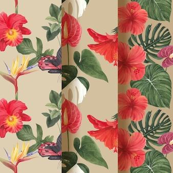 Padrão sem emenda com conceito de botânica tropical, estilo aquarela