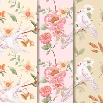 Padrão sem emenda com conceito de flores cottagecore, estilo aquarela