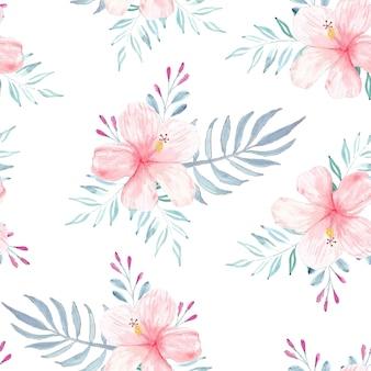 Padrão sem emenda com conceito de verão em hibisco em aquarela