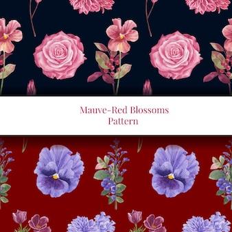 Padrão sem emenda com conceito floral vermelho muave, estilo aquarela